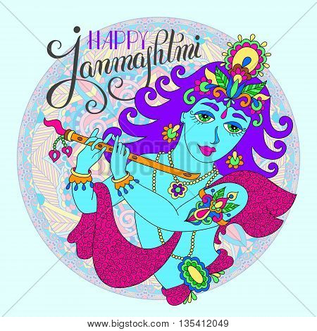 god lord Krishna with hand lettering inscription happy janmashtmi for indian festival, vector illustration