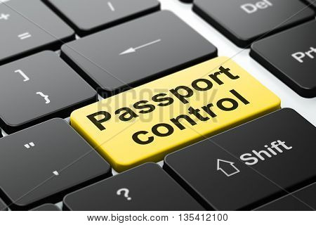 Travel concept: computer keyboard with word Passport Control, selected focus on enter button background, 3D rendering