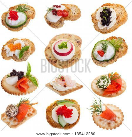 Assorted appetizers on a white background