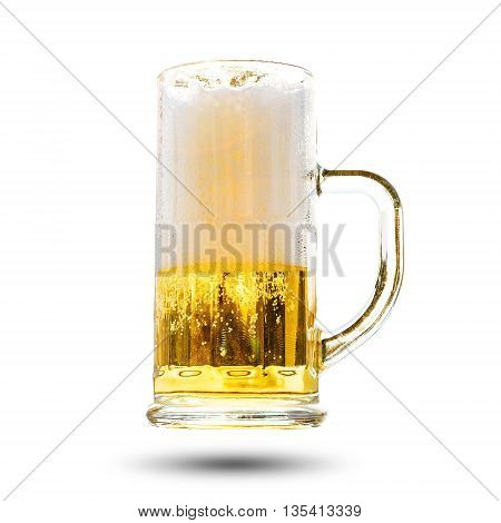 Beer in a glass with a handle isolated on white background.