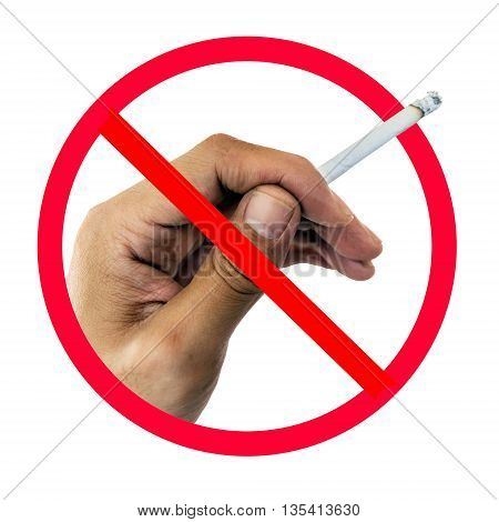 No smoking sign on cigarette in hand isolated on white background.