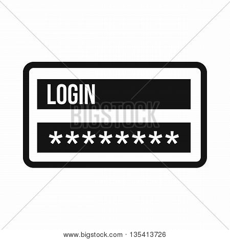 Login and password icon in simple style isolated on white background