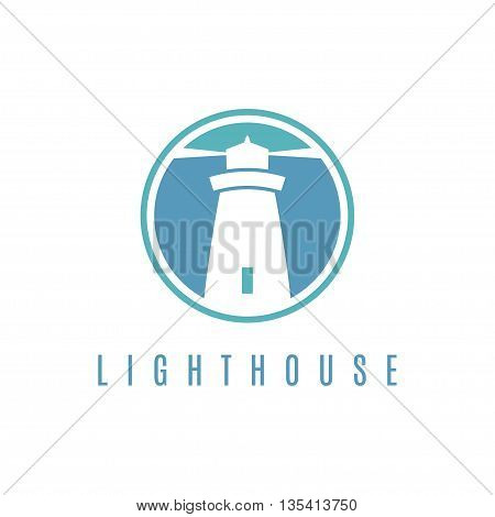 Concept logo template with lighthouse in flat design .Vector illustration