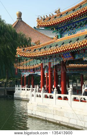 Traditional pavilions in chinese park in Beijing