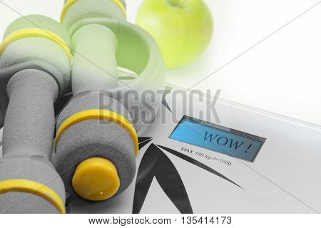 Fitness equipment apple dumbbells and scales for fitness