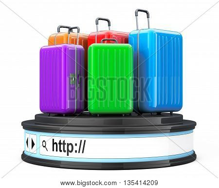 Suitcases over Browser Address Bar as Round Platform Pedestal on a white background. 3d Rendering