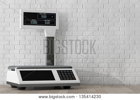 Electronic Scales for weighing Food in front of Brick Wall. 3d Rendering