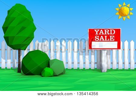 Yard Sale Board on grass Field in Low Polygons Style extreme closeup. 3d Rendering
