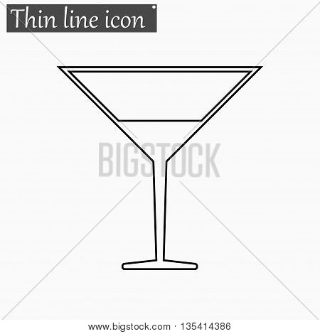 Coctail icon Vector Style Black thin line