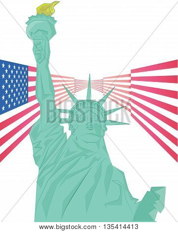 Vector - Statue of Liberty and USA flag