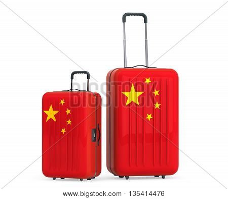 Travel to China Concep. Suitcases with China flag on a white background. 3d Rendering