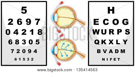 Human eyes and eyes checking boards illustration