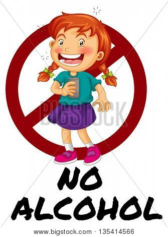 No alcohol sign with girl drinking illustration