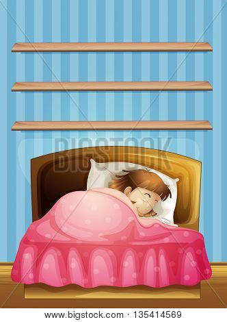Little girl sleeping in bed illustration