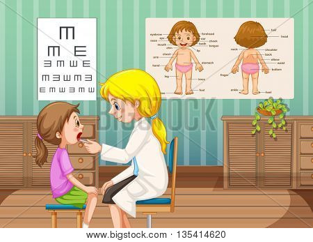 Doctor checking up little girl in clinic illustration
