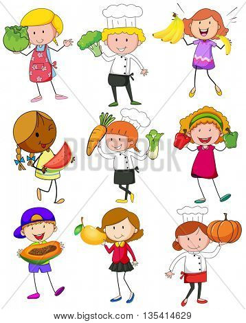 People with fruits and vegetables illustration