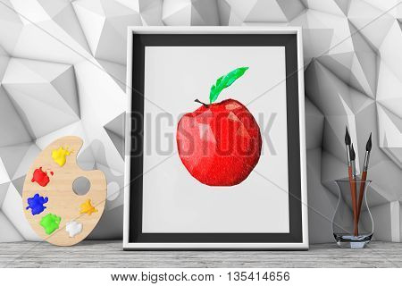 Picture of Apple with Paintbrushes and Pallette in front of Low Polygon Decorative Wall extreme closeup. 3d Rendering