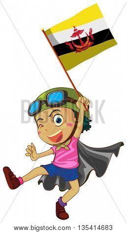 Boy holding flag of Brunei illustration