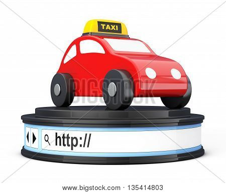 Abstract Taxi Car over Browser Address Bar as Round Platform Pedestal on a white background. 3d Rendering