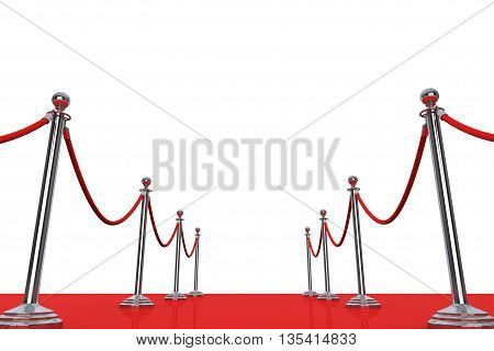 Red Carpet and Barrier Rope on a white background. 3d Rendering