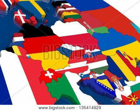 Central Europe On 3D Map With Flags