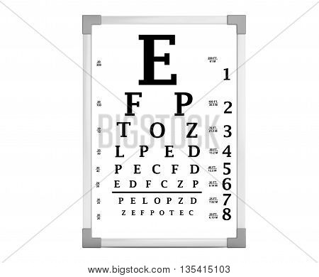Snellen Eye Chart Test Box on a white background. 3d Rendering