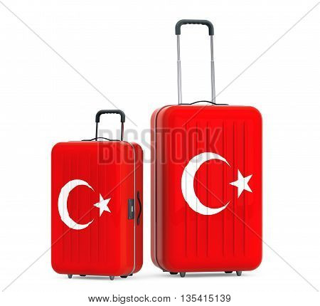Travel to Turkey concep. Suitcases with Turkey flag on a white background. 3d Rendering