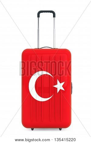 Travel to Turkey concep. Suitcase with Turkey flag on a white background. 3d Rendering