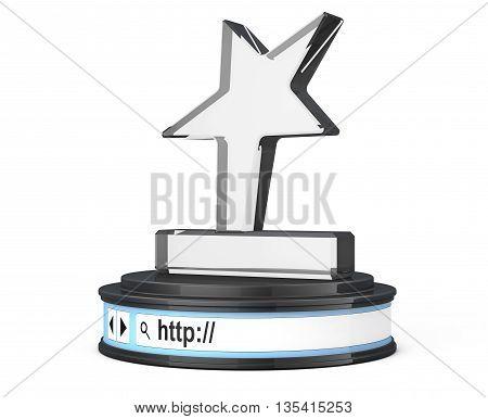Star Trophy over Browser Address Bar as Round Platform Pedestal on a white background. 3d Rendering