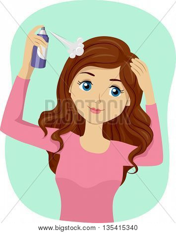 Illustration of a Teenage Girl Spraying Dry Shampoo