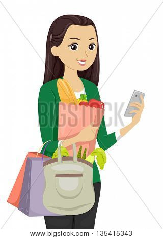 Illustration of a Teenage Girl Using a Shopping App While Buying Groceries
