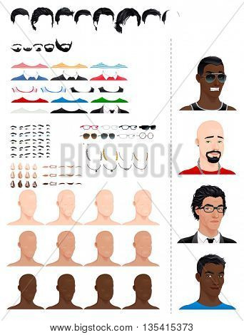 Male avatars. 8 hairstyles, 5 beards, 3 eyes in 5 colors, accessories and 3 color skins, in different ages and head shapes. Previews on the right side. Vector file, isolated objects.