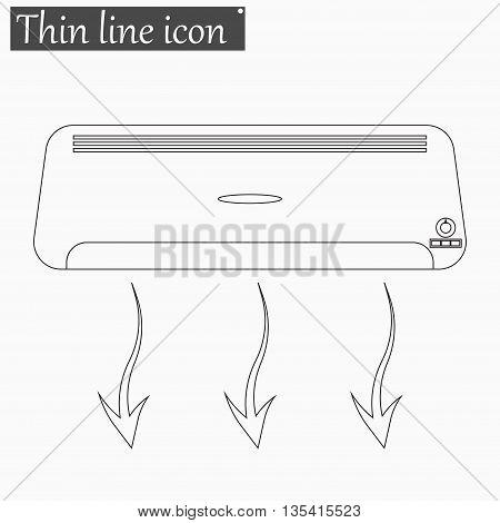 Air conditioner icon Vector Style Black thin line