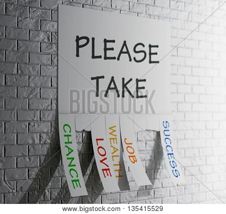 Advertising Papers with Cut Slips and Please Take Sign in front of Brick Wall. 3d Rendering