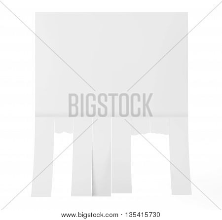 Advertising Papers with Cut Slips on a white background. 3d Rendering