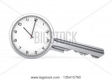Time Management Concept. Mdern Clock as Key on a white background. 3d Rendering