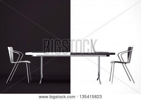 Confrontation Concept. Black and White Chairs and Desk in front of black and white background. 3d Rendering