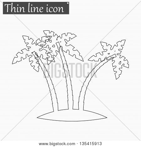Tropical palm trees icon Vector Style Black thin line