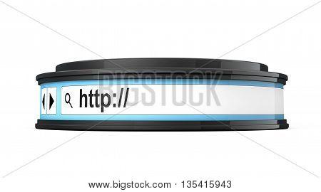 Browser Address Bar as Round Platform Pedestal on a white background. 3d Rendering