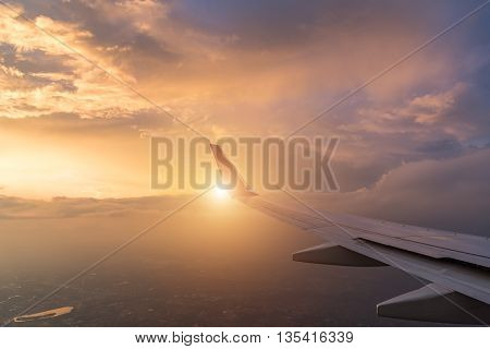 Wing Aircraft At Cloud Sunset