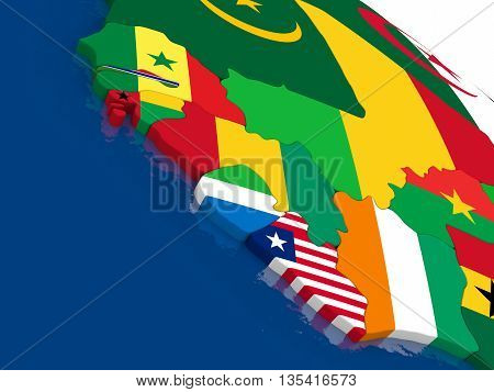 Liberia, Sierra Leone And Guinea On 3D Map With Flags