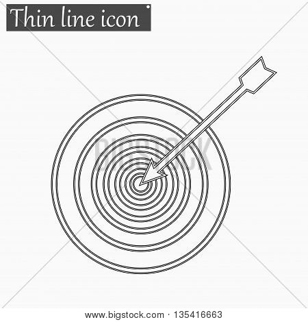 Successful shoot. Darts target aim icon Vector Style Black thin line