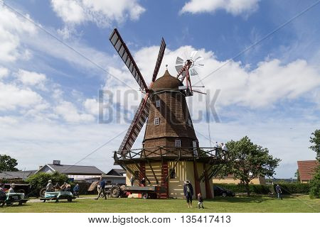 Ramloese, Denmark - June 19, 2016: People at the Historic Danish windmill on the Danish Windmill Day 2016.