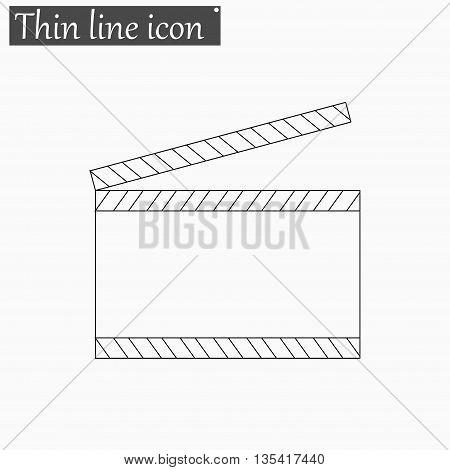 Film clapper board icon Vector Style Black thin line