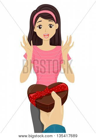 Illustration of a Teenage Girl Receiving a Box of Chocolates