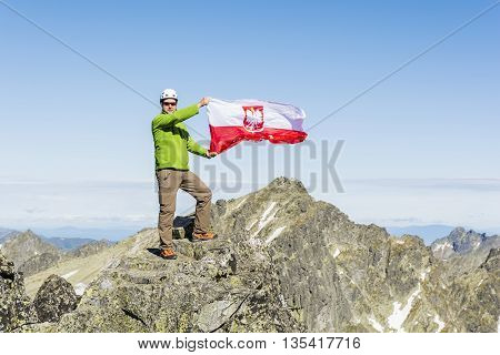 Tourist From Polish Flag At The Top.