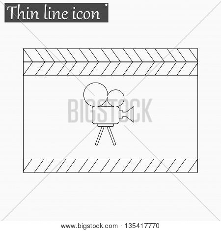 Film clapper board icon Vector Style Black thin line