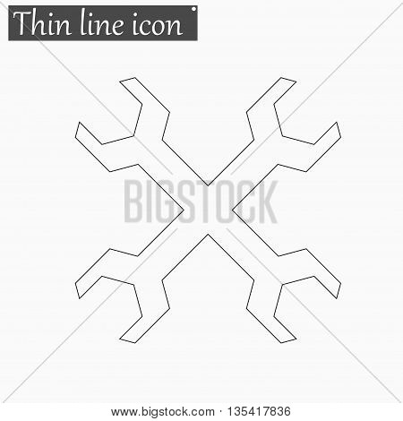 Wrench icon Vector Style Black thin line