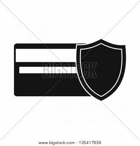 Credit card and shield icon in simple style isolated on white background