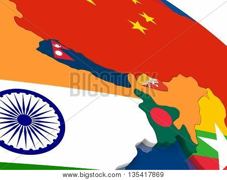 Nepal And Bhutan On 3D Map With Flags